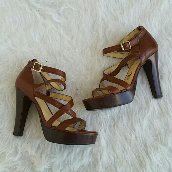 8eef87af8df LAUREN Ralph Lauren Brown Leather Platform Heels
